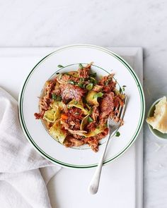 Duck ragù with spinach pasta recipe | delicious. magazine Spinach Pasta Recipes, Italian Pasta Recipes, Gnocchi Recipes, Duck Recipes, Goose Recipes, Meat Recipes, Chicken Recipes, Roasting Tins, Cooking