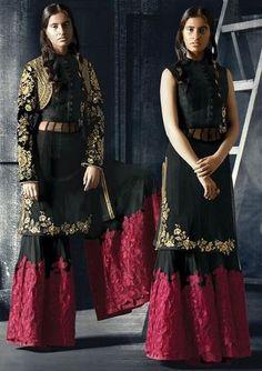 Black & Maroon Banglori Silk & Velvet Salwar Kameez ,Indian Dresses - 1