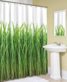 Beautiful Green Shower Curtain with Grass Accents