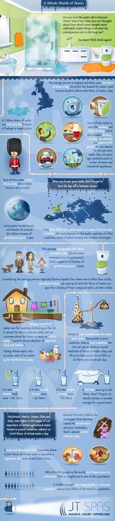 A whole world of water: infographic over watergebruik en tips om water te besparen. Je leest alles op www.fruitofthecity.com