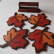 Maple Leaf Set of Coasters and Stand perler beads, hama beads, bead sprites from FramedBits on Storenvy. Hama Beads Coasters, Diy Perler Beads, Perler Bead Art, Perler Bead Designs, Hama Beads Design, Pearler Bead Patterns, Perler Patterns, Art Perle, 8bit Art