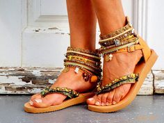 Your place to buy and sell all things handmade Bohemian Sandals, Hippie Vibes, Greek Sandals, Beautiful Shoes, Leather Sandals, Womens Fashion, Fashion Outfits, Summer Sandals, How To Wear