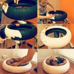Animal Projects, Diy Projects, Tire Craft, Diy Dog Bed, Diy Bed, Homemade Dog Bed, Old Tires, Recycled Tires, Diy Stuffed Animals