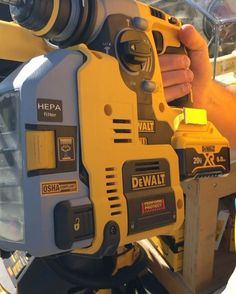 Upgrades coming for the Rotary Hammer with on board dust extraction. We all face the same OSHA rulings and the same fines if we are not compliant so this is important. Mobile Workshop, Dewalt Tools, Workshop Design, Cordless Tools, Construction Tools, Must Have Tools, Professional Tools, Garage Workshop, Woodworking Wood