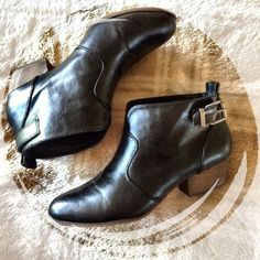 Ankle boots Very chic! They are black faux leather boots. They have a buckle at the side of the ankle. The heel is about 1.75 inches. Worn several times. Marked as euro 41. Chelsea Crew Shoes Ankle Boots & Booties