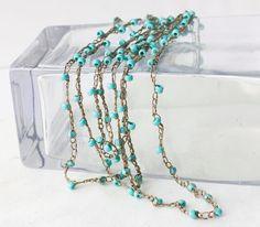 Turquoise Summer Boho Necklace Beach Bracelet   by beadedwire