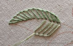 Anna Scott : Blanket stitch leaves - part one - leaves done in blanket stitch going both directions