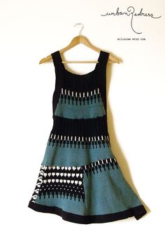 geometric sea green jumper  upcycled by miliaime on Etsy, $75.00