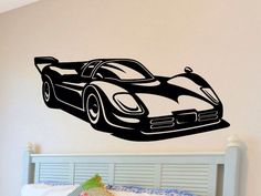 Race Car Wall Decal Boys Bedroom Wall Decor Man Cave Racecar Wall Sticker Removable Vinyl Nursery Decoration Mancave Kids Bed Room Playroom by vgwalldecals on Etsy https://www.etsy.com/listing/82141985/race-car-wall-decal-boys-bedroom-wall