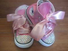 Girls Pink Bling Princess Converse Shoes -- could fake (for pretend play, at least!) with any canvas shoe: add glitter/stick-on stones and ribbon, BINGO! Little Babies, Cute Babies, My Little Girl, Cute Kids, Baby Kids, Converse Shoes, Bling Converse, Baby Converse, Bling Shoes