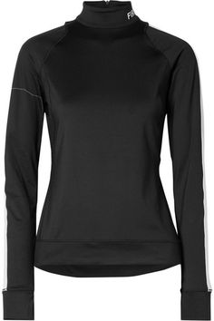 Black and white stretch-jersey Zip fastening along back polyester, elastane Machine wash Apres Ski, Personal Shopping, Funnel Neck, Looks Cool, Laser Cutting, Stretches, Layers, Sporty
