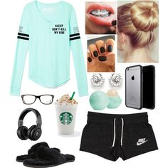 A fashion look from November 2015 featuring Victoria's Secret tops, NIKE activewear shorts and Ray-Ban eyeglasses. Browse and shop related looks.