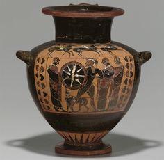 AN ATTIC BLACK-FIGURED HYDRIA - ATTRIBUTED TO THE AINIPYLOS PAINTER, CIRCA 550-540 B.C.