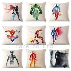 Decorative Throw Pillow Case Watercolor Marvel Superhero Comic Cushion Cover 18""