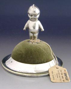 "c1910 Silver Plated ""Kewpie and Helmet"" PinCushion. WWI Era."