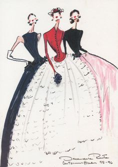 oscarprgirl:  Illustrations from Oscar de la Renta's 1995-1996 couture collection for Balmain.
