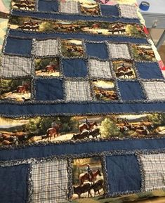 Teenager assists blind and deaf man on flight - quilt patterns Flannel Rag Quilts, Boy Quilts, Denim Quilts, Denim Quilt Patterns, Bag Patterns, Quilting Patterns, Western Quilts, Blue Jean Quilts, Horse Quilt
