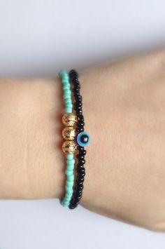 Turquoise Gold Bracelet Friendship Bracelet Boho by DanusHandmade