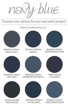 Navy blue is trending and there are a lot of navy blue paint colors. Which is th… – Painting Navy Paint Colors, Exterior Paint Colors, Exterior House Colors, Paint Colors For Home, Navy Blue Paints, Blue Colors, Navy Blue Color, Navy Blue Walls, Dark Blue Bedroom Walls