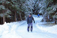 Ein Eisweg durch den Winterwald: Skateline Albula in Surava/Graubünden | Foto: Anselm Bußhoff