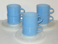 6 Fire King BLUE MOSAIC *CUPS & SAUCERS*