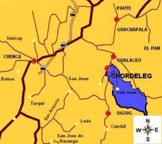 ECUADOR            CHORDELEG. MAPA. Turismo Chordeleg Ecuador
