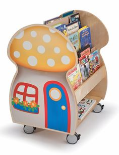 Nothing sparks a child's imagination like a good book, and our delightful Mushroom House Book Display adds some fairy dust to a story, too. Constructed in beautiful birch laminate in a tough, easy-to-clean Natural UV finish that won't yellow with age. Mushroom decal on both sides. Heavy duty lockable casters (included) add mobility and there's storage capacity for a huge amount of books. Made in USA. GreenGuard Certified. Lifetime Warranty.