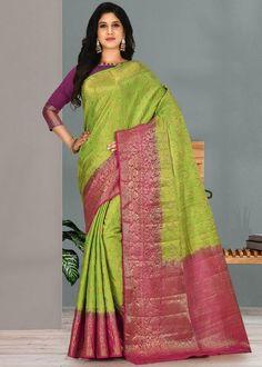 #green #kanjivaram #silk #saree #blouse #attractive #design #sareelove #new #arrivals #beautiful #indianwear #ootd #traditional #womenswear #online #shopping Kanjivaram Sarees, Art Silk Sarees, Weaving Art, Saree Wedding, Indian Wear, Pink Color, Women Wear, Purpose, Green