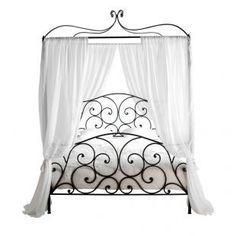 Black, wrought iron bed frame with white curtains & bedding. Wrought Iron Bed Frames, Wrought Iron Decor, Iron Furniture, Bedroom Furniture, Metal Double Bed, Cama Vintage, Four Poster Bed Frame, Iron Canopy Bed, Canopy Beds
