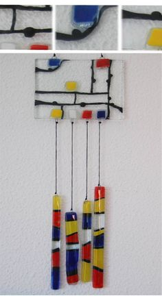 moviles en vitrofusion - Buscar con Google Mosaic Glass, Fused Glass, Stained Glass, Glass Art, Diy Wind Chimes, Glass Wind Chimes, Glass Backsplash Kitchen, Mondrian Art, Hanging Mobile