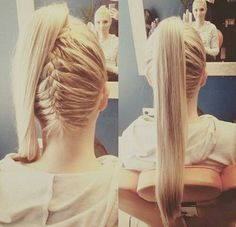 40 High Ponytail Ideas for Every Woman high ponytail with a reverse braid – Farbige Haare French Braid Ponytail, High Ponytail Hairstyles, Dance Hairstyles, High Ponytails, Ponytail Ideas, Hair Ponytail, Curly Hair, Hair Styles 2016, Short Hair Styles