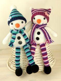Mr & Mrs Snow with Christmas Tree Gift Bag Amigurumi Crochet