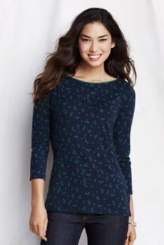 Women's 3/4-sleeve Print Lightweight Cotton Modal Boatneck from Lands' End