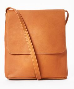 Another great find on #zulily! Tan Simple Flap-Over Leather Crossbody Bag #zulilyfinds 31.99 on sale