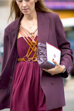 Add some edge to jewel tone separates with a leather harness.   - ELLE.com