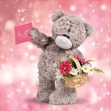 Cards & Stationery Me To You Holding Basket Of Flowers Hologram Open Card Tatty Teddy Bear & Garden Tatty Teddy, Teddy Bear Quotes, Nurse Art, Children Sketch, Teddy Bear Pictures, Bear Drawing, Blue Nose Friends, Bear Graphic, Bear Card