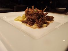 Pappardelle and wild boar ragu, truffle creme, asparagus tips, parsnip chips from Inside Columbia's Culinary Adventures Executive Chef Dennis Clay
