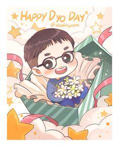Let's shine in 2016 Actor Do Kyungsoo~! Kyungsoo, Chanyeol, Kaisoo, Exo Ot12, Chibi Boy, Bts Chibi, Exo Birthdays, Exo Cartoon, Exo Anime