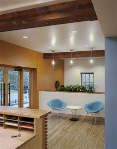 CID Bio Sciences Renovated American Legion Hall Offices  #reception #reception_desk,  #reception_design, #reception_area reception desks,  reception design, reception area