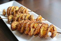 Kartoffelspiralen am Spieß Potato Chips, Baked Potato, French Toast, Grilling, Pork, Potatoes, Snacks, Meat, Chicken