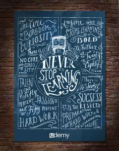 Be Curious / Never Stop Learning! // Biljana Kroll's Portfolio: Custom Lettering Of Quotes About Learning Hand Lettering Quotes, Typography Letters, Typography Poster, Typography Design, Chalk Lettering, Lettering Ideas, Creative Typography, Inspiration Typographie, Quote Of The Week
