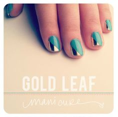 Gold Leaf Fingernails for Upscale Manicure Design