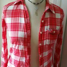 Hollister red plaid shirt Hollister light weight button up shirt. Like new. Size medium Tops Blouses
