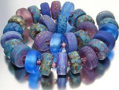 "Sistersbeads ""Purple Dawn"" Handmade Lampwork Beads"