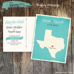 State Heart Save the Date Postcard - Wedding Stationary - Turquoise Texas on Etsy, $20.00
