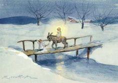 Erica von Kager - Engel führt Kind mit Esel