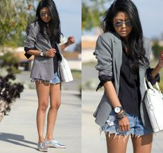 Mini Check Blazer, Metallic Oxfords | WHITE ON BLACK (by Sheryl L) | LOOKBOOK.nu