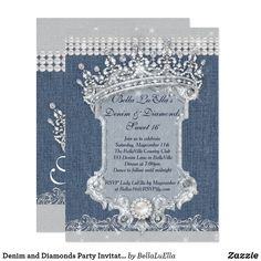Shop Denim and Diamonds Party Invitations created by BellaLuElla. Personalize it with photos & text or purchase as is! 50th Birthday Party, Mom Birthday, Birthday Party Invitations, Birthday Ideas, Forty Birthday, 21st Party, Blue Birthday, Birthday Board, Diamond Theme