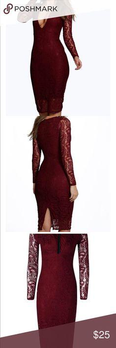 Black Lace dress Black long sleeve dress. Lace with the plunge neckline. Boohoo Dresses Midi