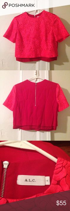 ALC hot pink Lacey embroidered flower top ALC hot pink Lacey embroidered flower top as seen on Mindy Kaling! Size 4 A.L.C. Tops